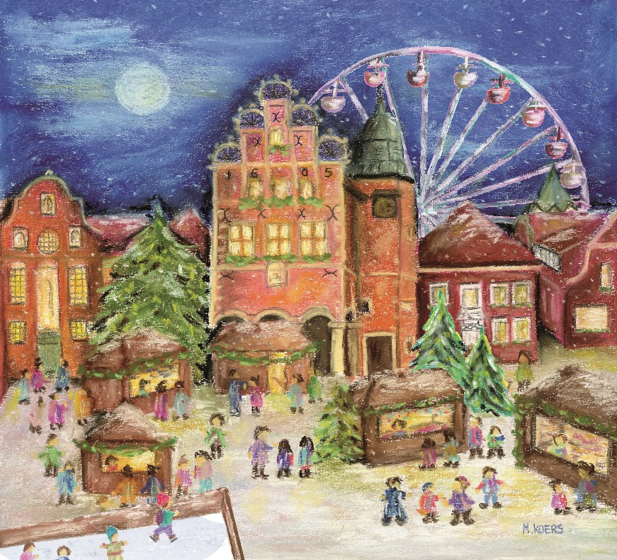 Weihnachtspyramide eines von vielen Highlights auf dem Weihnachtsmarkt Meppen