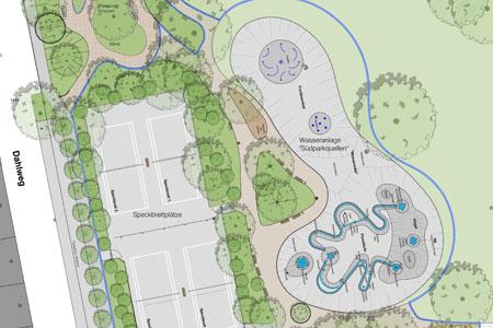 Wasserfontänen für den Südpark - Sanierungsarbeiten im ersten Bauabschnitt gestartet