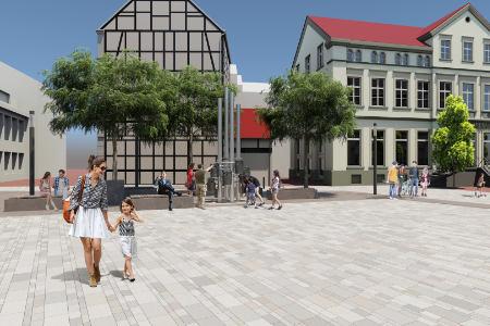 Bänke, Bäume und Band für Marktplatz in Beckum